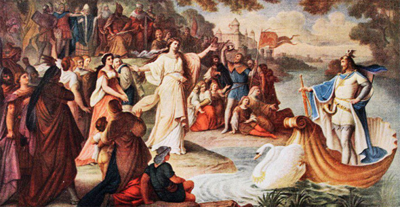 Arrival of Lohengrin (Son of Parzifal) with the white Swan